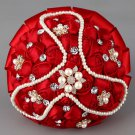 22 cm HANDMADE Wedding Brooch Bouquet Artificial Flower Faux pearl Red Posy WB28