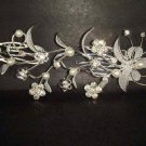 Bridal Rhinestone silver tone Faux Pearl Crystal Hair Comb RB113