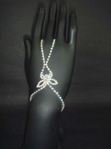 Sexy Rhinestone belly dance silver tone slave butterfly bracelet with ring BR199