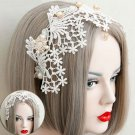 Bridal Lolita Costume Party white dangle Queen hair head lace headband HR421