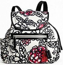 Coach Daisy  Floral Graffity Backpack Purse F16582