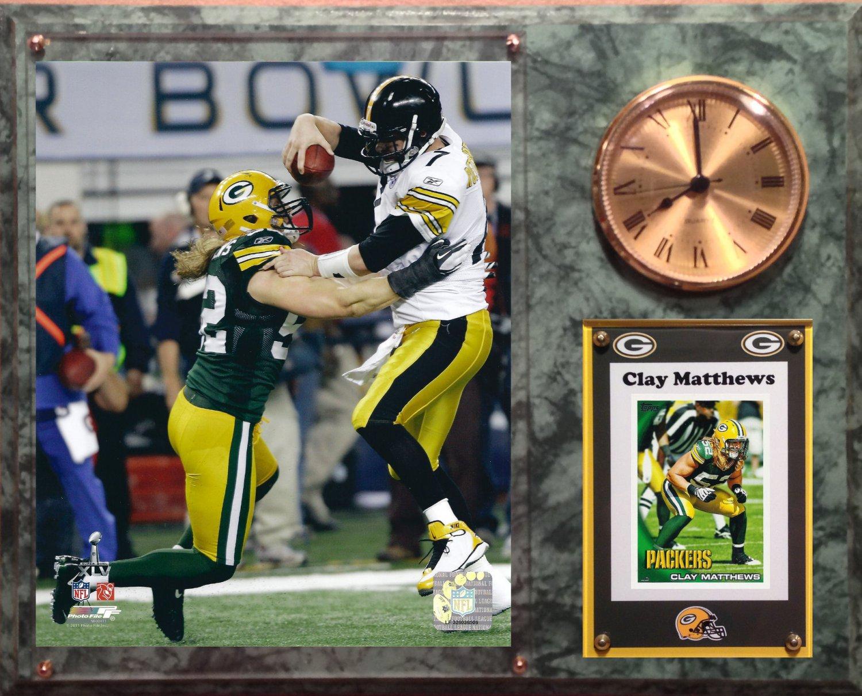 Clay Matthews Green Bay Packers Photo Plaque clock.