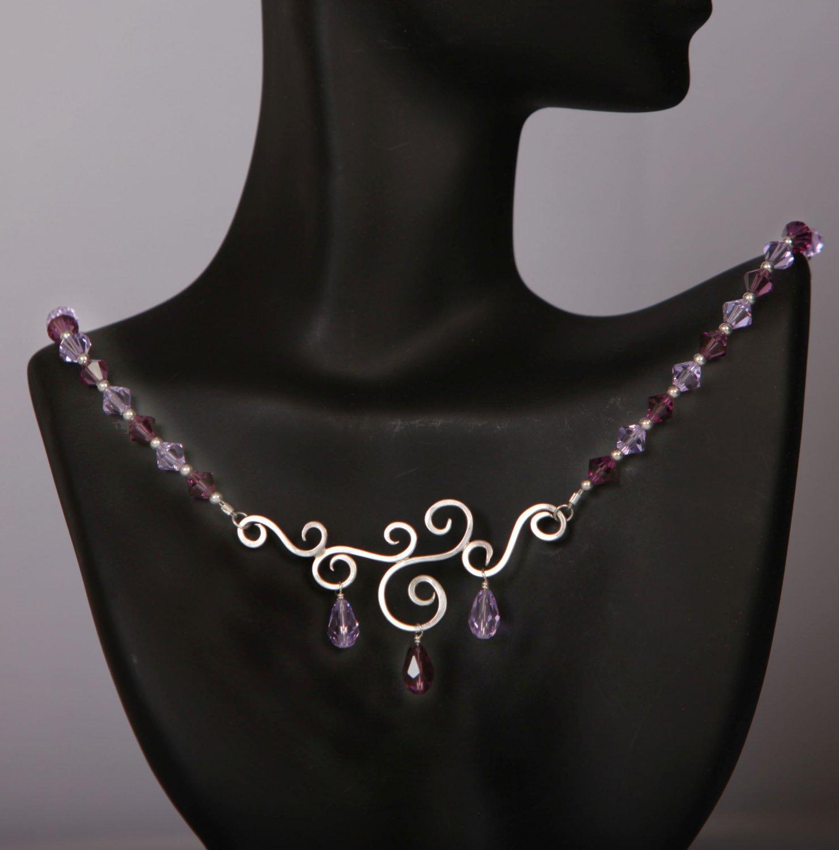 Swarovki Scroll Necklace