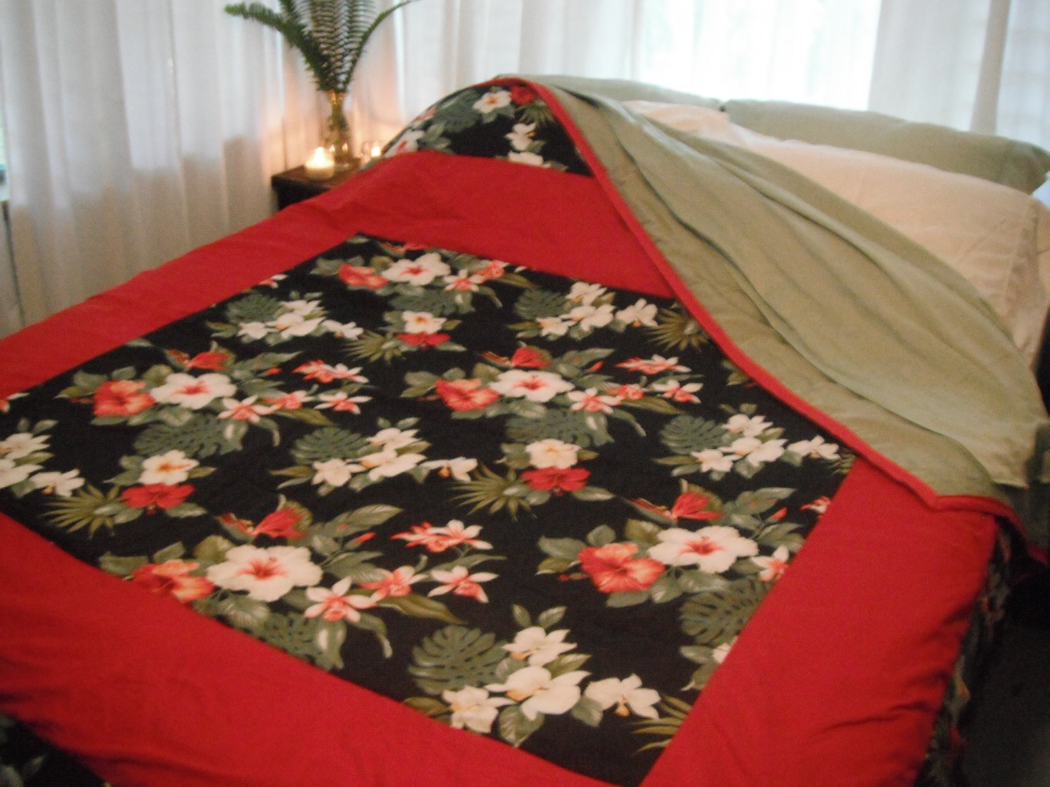 Exotic Red Hibiscus Quilt