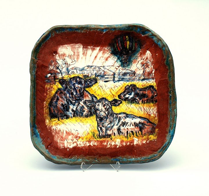 Farm Plate with Cows