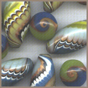 Polymer Clay Blue and Chartreuse Accent Beads