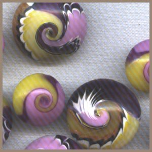 Polymer Clay Purple & Yellow Small Swirled Accent Beads