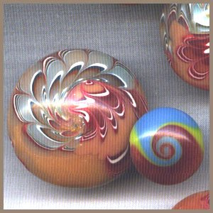 Polymer Clay Turquoise & Coral Swirled Beads