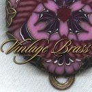 Purple and Rose Polymer Clay Focal in Vintage Brass Setting