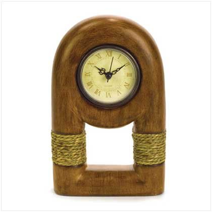 Wood Clock with Rope Trim - 37965