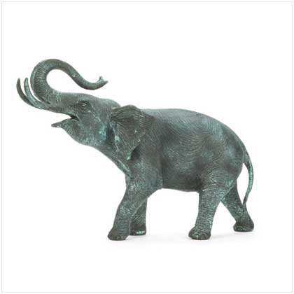 Verdigris Walking Elephant - 37516