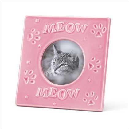 Pink Stoneware Cat Frame - 37302