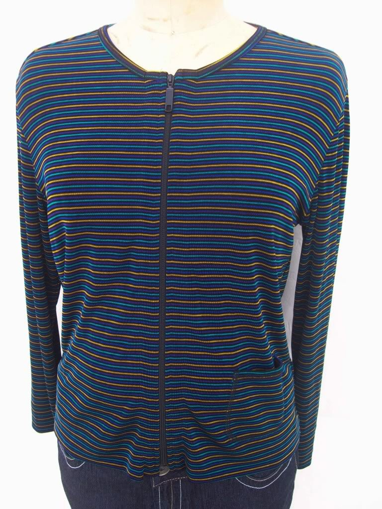 Chico's slinky round neck striped zip top jacket sz 0 S
