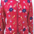 Casual Designs red rayon embroidered lined JACKET Blazer size M