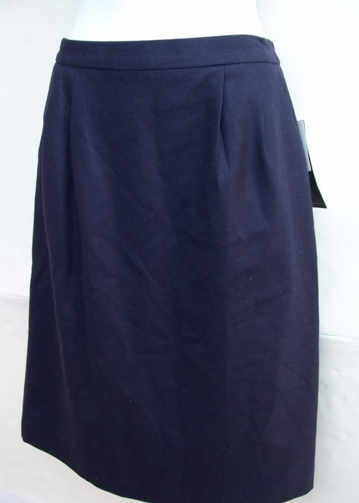 Kim Rogers side elastic waist straight wool suit skirt size 10