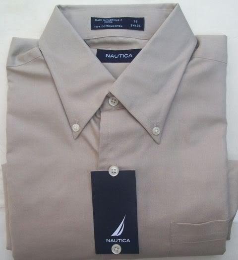 NAUTICA long sleeve casual DRESS SHIRT 16 34/35 size L