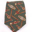 Tommy Hilfiger monogram green 100% Silk mens neck Tie