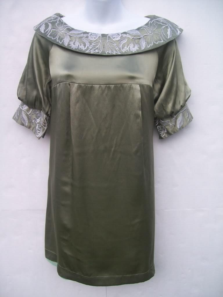 Elie Tahari embroidered silk swing dress size 6