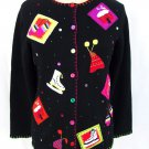 Quacker Factory patch winter fun cardigan sweater size S