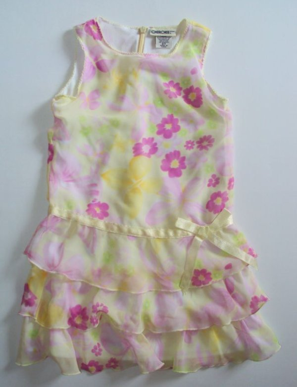 CHEROKEE Spring Dress Floral Easter 3T Yellow Pink