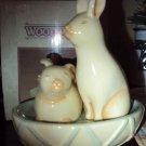 NIB Nikko Woodbury Bunny Salt and Pepper Shakers