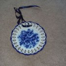 "Blue & White Floral Pattern 7"" Circle Wall Hanging"