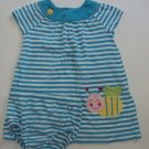 CARTERS 24 M Aqua Blue White Striped Dress with Diaper