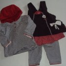 KANZ Brand 3 Pc Gray Red Baby Girl Outift ~ 2 M