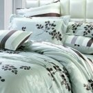 4-pc Elegant Light Green Floral Tencel Duvet Cover Bedding Set