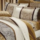 4-pc Elegant Brown Stripe Thicken Woolens Cotton Duvet Cover Bedding Set