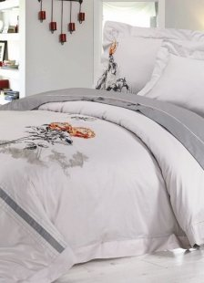 Gray Chinese Ink And Wash Painting Duvet Cover Bedding Set