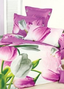 Beautiful Rose Cotton 4-Pc Tulips Printed Bedding Set