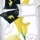 Gorgeous White Cotton 4-Pc Flower Printed Bedding Set