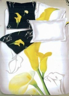 Gorgeous White Cotton 4-Pc Flower Printed Bedding Set