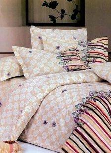 Yellow Cotton Bedding Set Flower Printed