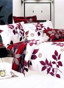 4-pc White Cotton Duvet Cover Bedding Set