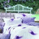 4-pc Violet Floral Colored Cotton Duvet Cover Bedding Set