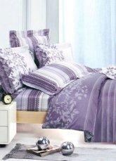 4-pc Beautiful Light Purple Cotton Floral Reactive Print Duvet Cover Bedding Set