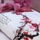 4-pc Classical White And Red Cotton Duvet Cover Bedding Set