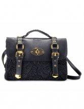 Beautiful Black Leather Lace Womens Shoulder Bag