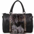 Modern Attractive Black Fox Fur Women's Tote Handbag
