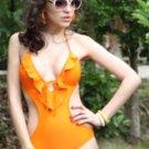 Orange Connect Ruffle Bikini Sets