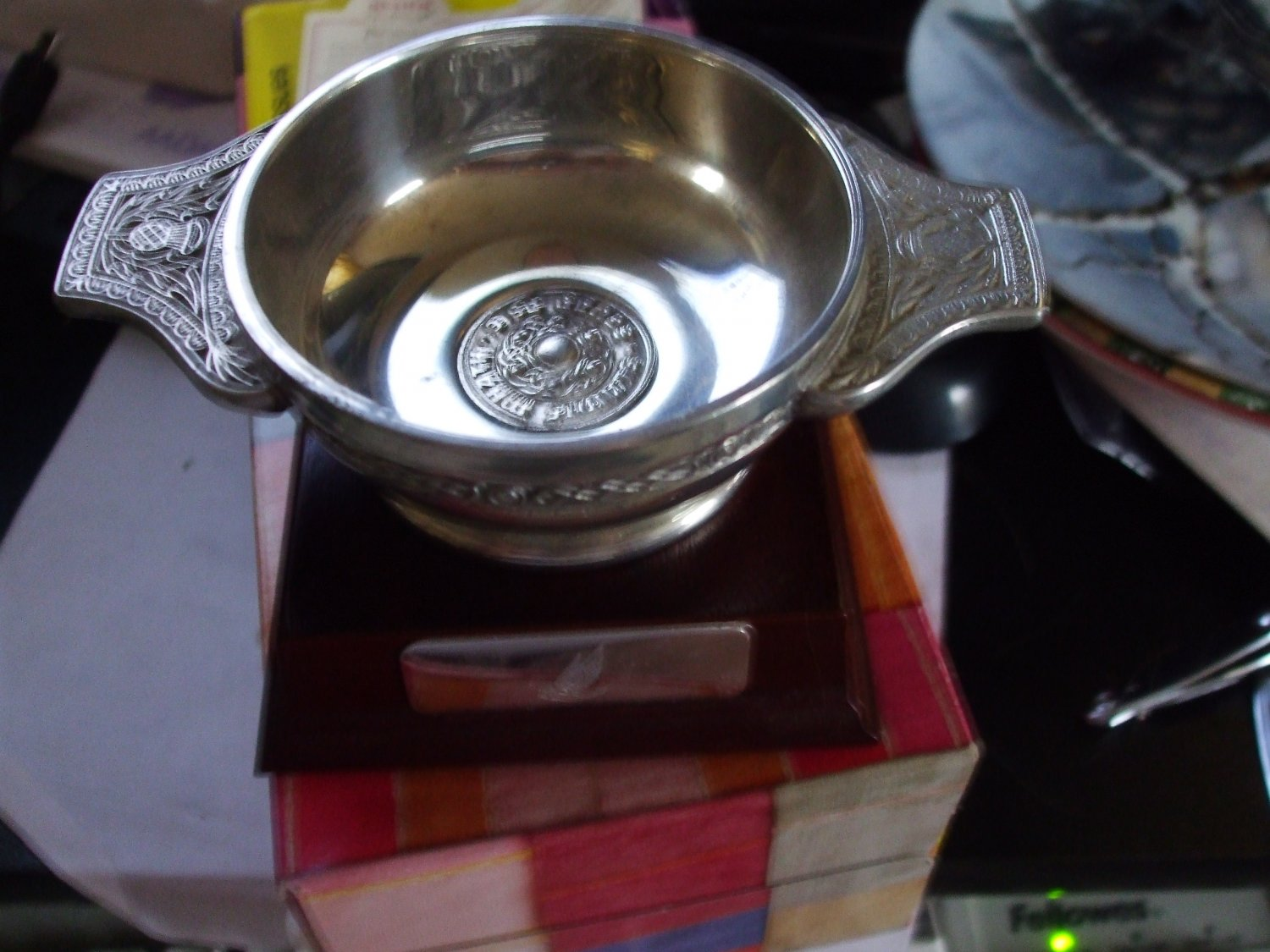 """Art Pewter Silver"" Quaich Cup and stand"