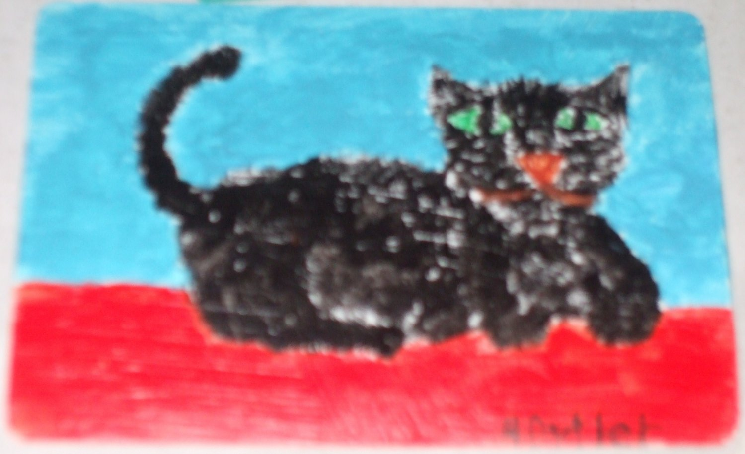 playing card size folk art cat painting