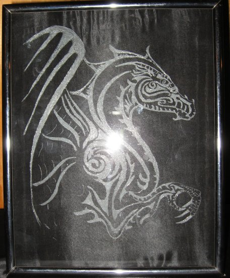 Black Dragon Glass Etching