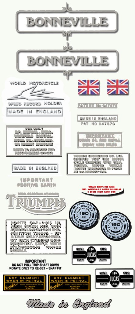 Met Silver Triumph Bonneville Decals