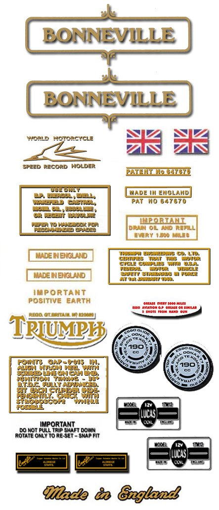 1971-73: Bonneville T120 T120R Decals - DECAL SET - Triumph Bonneville Decals