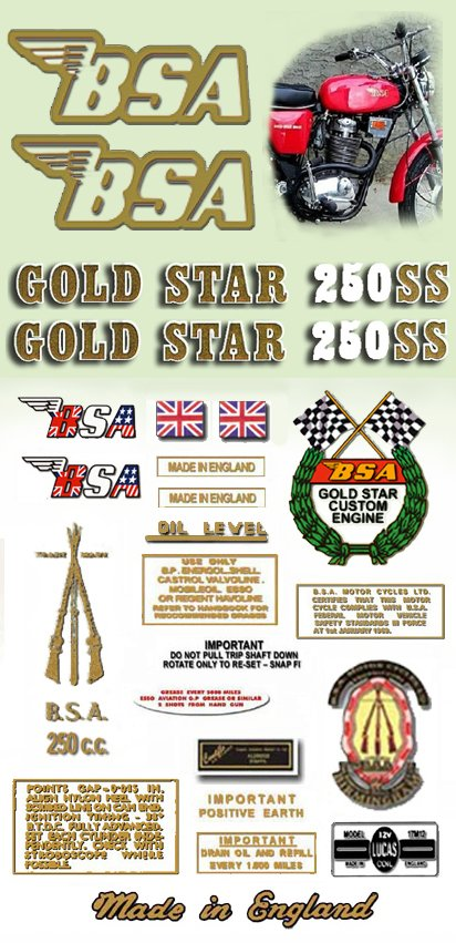 BSA Gold Star Decals: 1971: B25SS DecalSet