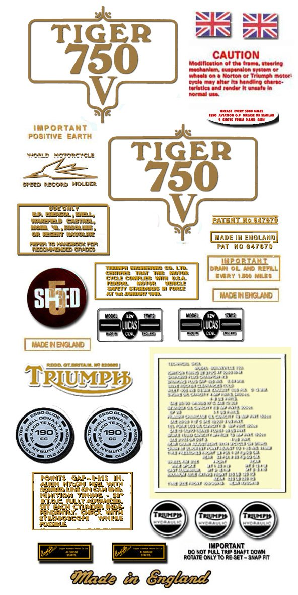 TR7RV: 1973-75- DECAL SET - OIF  Triumph Tiger