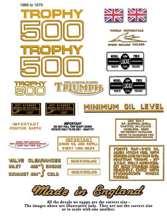 T100C TR5C: 1968-72 - DECAL SET- Triumph Trophy